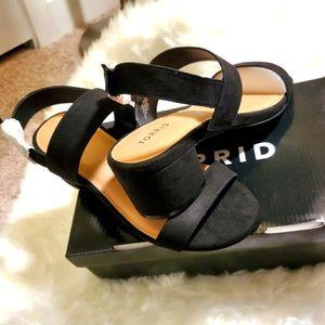 9.5W Black Suede Strap Slingback Heel 👠
